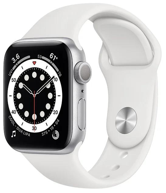 Часы Apple Watch Series 6 GPS 44mm Aluminum Case with Sport Band Silver / White умные часы apple watch series 6 gps 44mm aluminum case with sport band white серебристый белый